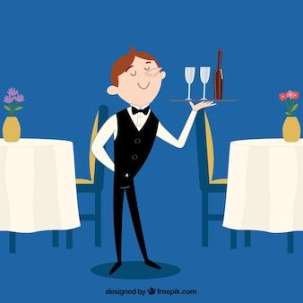 Cameriere elegante disegnato a mano