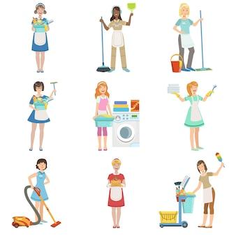 Cameriere professionali hotel con attrezzature per la pulizia insieme di illustrazioni