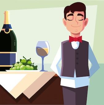 Cameriere professionista che tiene la bottiglia di vino
