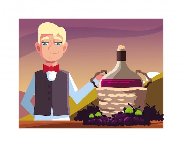 Cameriere professionista dell'uomo che offre vino rosso