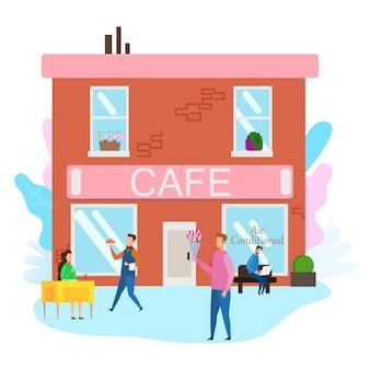 Cameriere servire food woman cafe man con bouquet