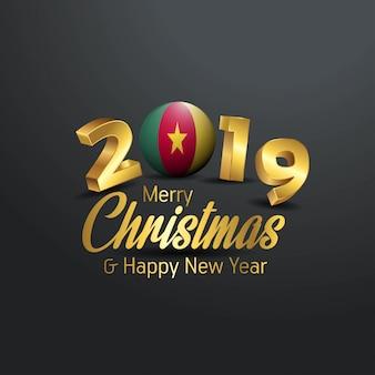 Camerun flag 2019 tipografia buon natale