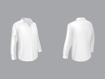 Camicia bianca a mezza manica con maniche lunghe davanti