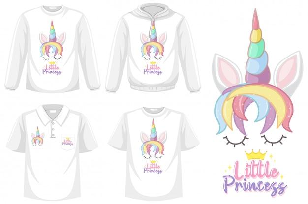 Camicia di unicorno isolato su priorità bassa bianca