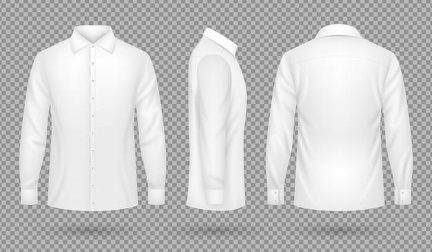 Camicia uomo bianca bianca con maniche lunghe davanti, vista laterale e posteriore. modello realistico di vettore isolato