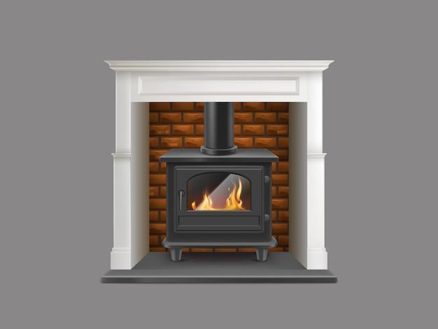 Caminetto a gas della casa con rivestimento in pietra di marmo bianco