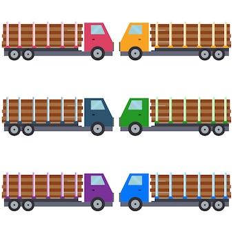 Camion colorato che trasporta asset gioco icona elemento in legno