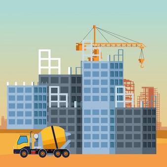 Camion della betoniera sopra paesaggio in costruzione, illustrazione variopinta