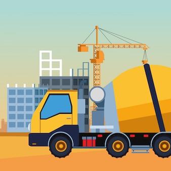 Camion della betoniera sopra paesaggio in costruzione