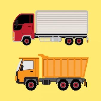 Camion della scatola e camion giallo