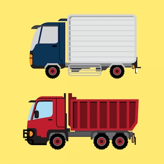 Camion della scatola e camion rosso