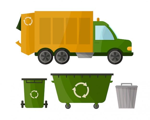 Camion della spazzatura e vari tipi di bidoni della spazzatura