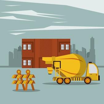 Camion di cemento per l'edilizia con barriera