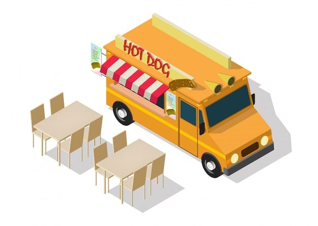 Camion di cibo hot dog isometrico di vettore