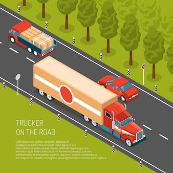 Camion di consegna con carico sulla strada 3d