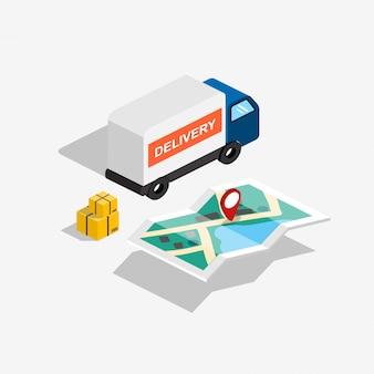 Camion di consegna isometrica con mappa del percorso e scatole