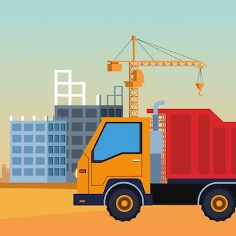 Camion di costruzione su uno scenario in costruzione, design colorato
