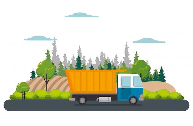 Camion di servizio di consegna isolato