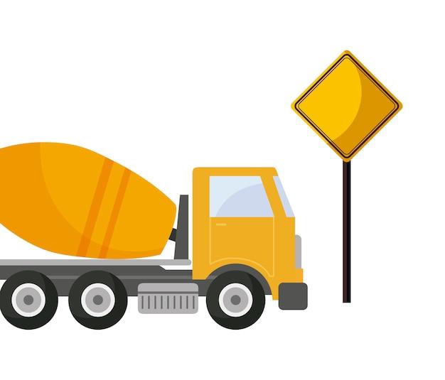 Camion di trasporto in costruzione in cemento con segnalazione
