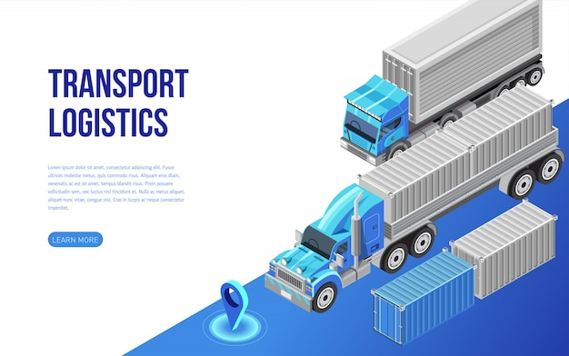 Camion e container vicino alla descrizione per il sito web