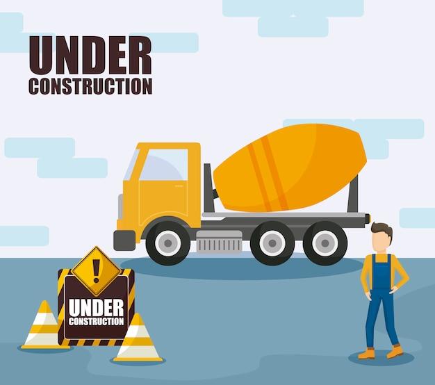 Camion e lavoratore di trasporto in costruzione