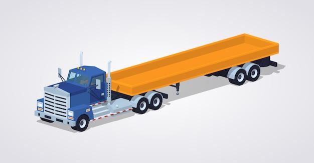 Camion e rimorchio pesante blu poli basso con la piattaforma aperta gialla