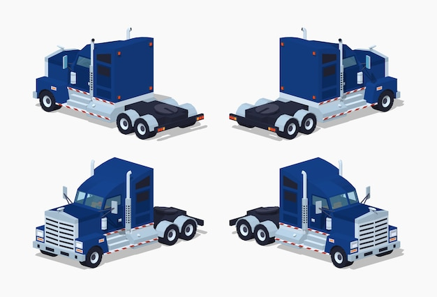 Camion isometrico 3d lowpoly pesante blu scuro