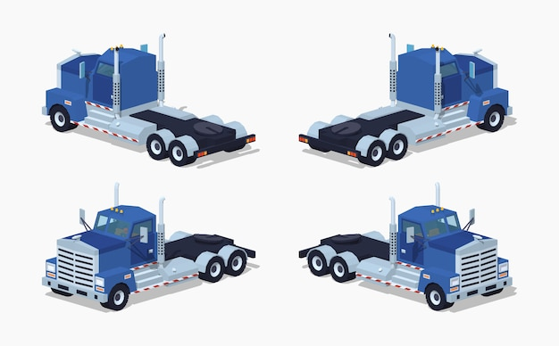 Camion isometrico 3d lowpoly pesante blu