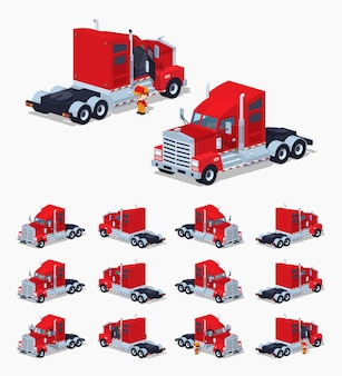 Camion isometrico 3d lowpoly pesante rosso