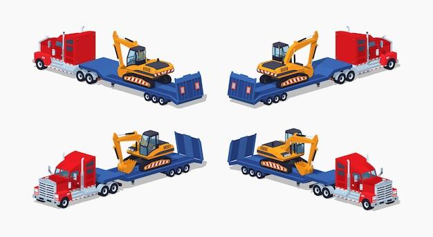 Camion pesante isometrico 3d lowpoly con escavatore sul rimorchio a pianale ribassato