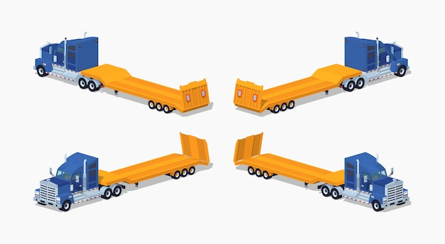 Camion pesante isometrico 3d lowpoly con rimorchio a pianale ribassato