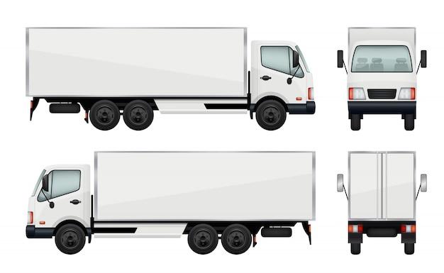 Camion realistico. illustrazioni vettoriali trasporto di merci