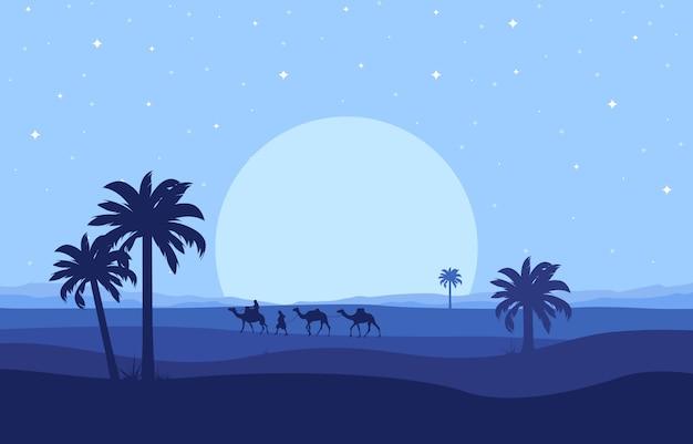Cammello rider crossing vast desert hill arabian landscape illustration