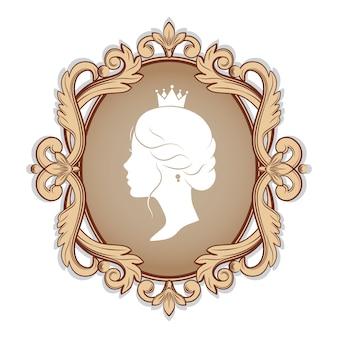 Cammeo di eleganza con profilo silhouette di una principessa in una cornice. isolato