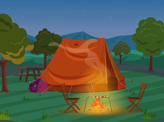 Camminando, facendo un'escursione o sport il paesaggio di ricreazione di campeggio all'aperto, illustrazione di vacanza di avventure della natura. tenda in legno notturno.