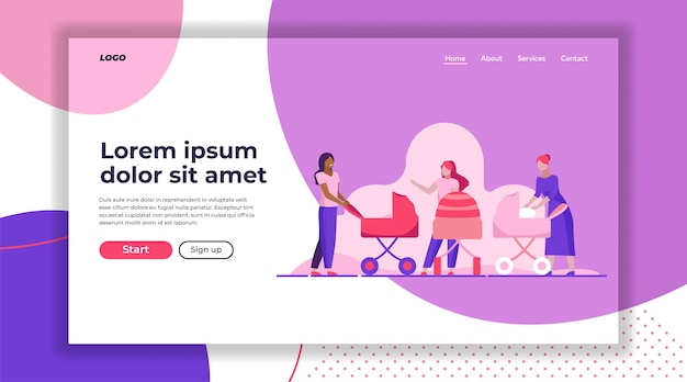 Camminare nuove mamme landing page template