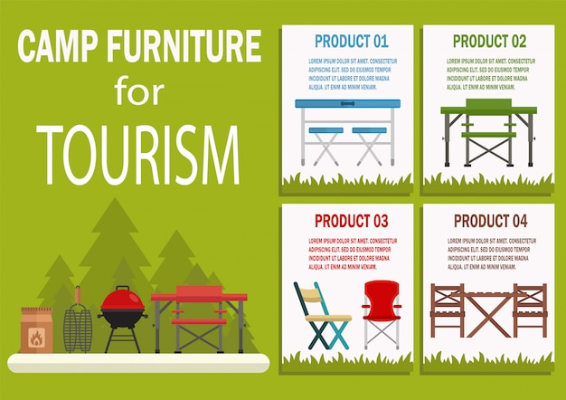 Camp furniture for tourism flat vector banner