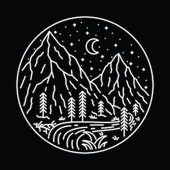 Camp hike nature wild line graphic art graphic t-shirt design