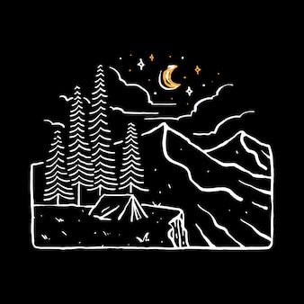 Camp hike nature wild line graphic art graphic t-shirt design