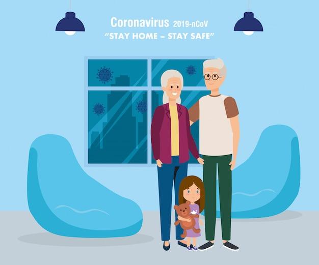 Campagna casalinga con nonni e figlia