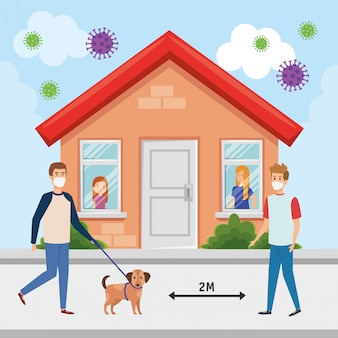 Campagna casalinga e distanza sociale di covid 19