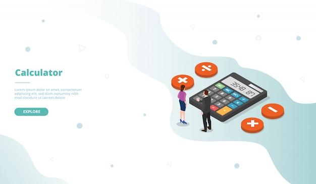 Campagna di calcolatrice per home page di landing page di modelli di siti web con stile piatto isometrico