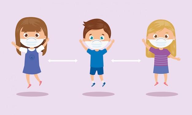 Campagna di distanze sociali per il 2019 ncov con bambini che usano il disegno dell'illustrazione della maschera facciale