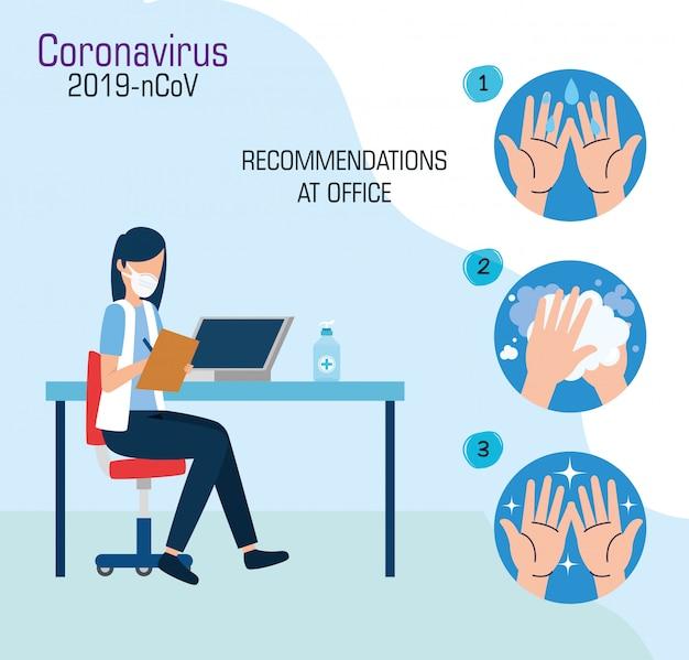 Campagna di raccomandazioni of-19 covid a progettazione dell'illustrazione di vettore dell'ufficio