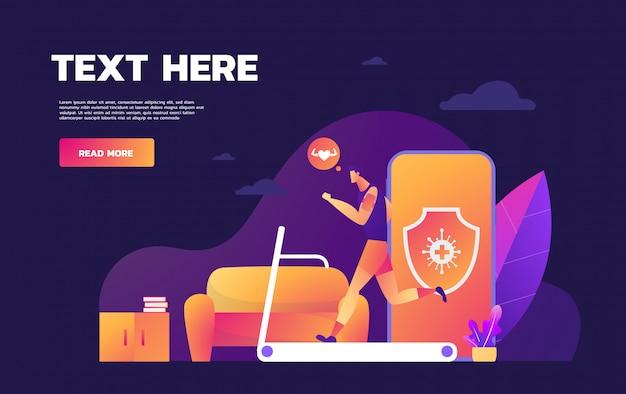 Campagna di sensibilizzazione sui social media e prevenzione del coronavirus uomo che corre sul tapis roulant a casa