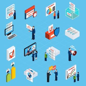 Campagna elettorale e icone isometriche di voto