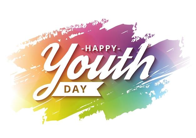 Campagna felice dell'insegna di giornata della gioventù con fondo variopinto