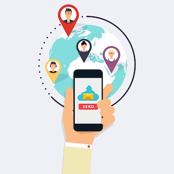 Campagna in corso, pubblicità tramite e-mail, marketing digitale diretto. marketing via email. set di icone social media. concetto moderno dell'illustrazione di stile piano di progettazione.