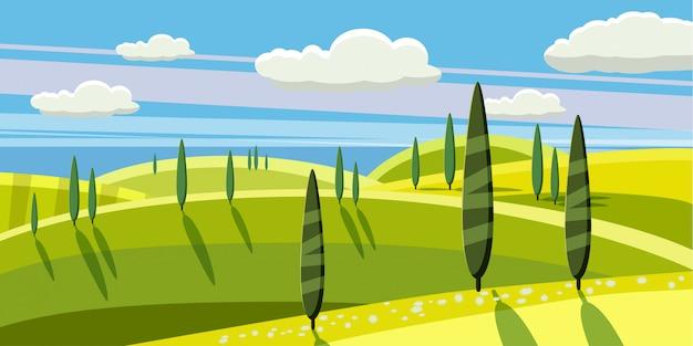 Campagna incantevole, fattoria, villaggio, mucche al pascolo, pecore, fiori, nuvole, stile cartoon, illustrazione vettoriale