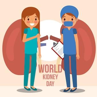Campagna mondiale del rene del chirurgo della ragazza medico